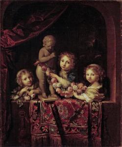 Portret van drie kinderen, mogeljk de kinderen van Gerrit Bicker van Swieten en Cornelia Bicker