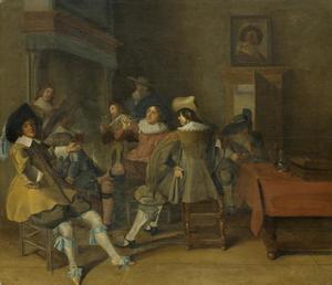 Interieur met rokende en drinkende mannen bij het haardvuur