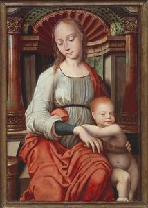 Maria met kind zittend voor een renaissancenis