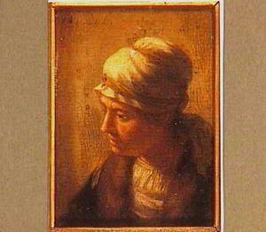 Miniatuur van een vrouwenkop met hoofddoek