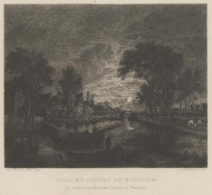 Rivierlandschap met schepen bij maanlicht
