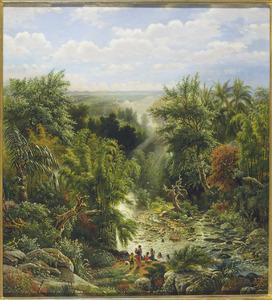 Gezicht op de rivier de Brantas en het Semerugebergte bij Malang