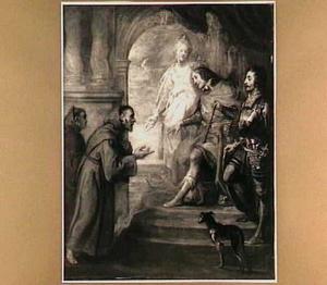 Franciscus van Paula voor Karel VIII, koning van Frankrijk, in aanwezigheid van Pierre de Bourbon en Anne de Beaujeu in verband met de verloving van de koning met Anne de Bretagne