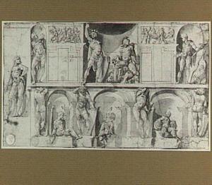 Ontwerp voor trompe-l'oeil decoratie van een muur met nissen en vensters (of: kasten, spiegels?)