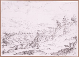 Berglandschap met dorp in dal