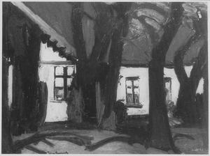 Huis met witte muren en bomen