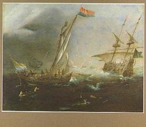 Kogge met Zeeuwse vlag op de Schelde, waarschijnlijk het veer Breskens-Brussel