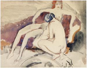 Twee naakte vrouwen in een interieur