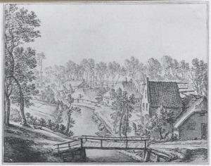 De Kromme Rijn bij Utrecht gezien vanaf het bastion Manenburg