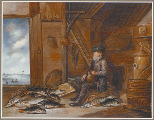 Interieur met een oude man bij een uitstalling van vis