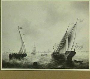Spiegeljacht en andere vaartuigen op de Maas bij Dordrecht
