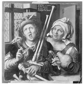 Doedelzakspeler en vrouw met kruik