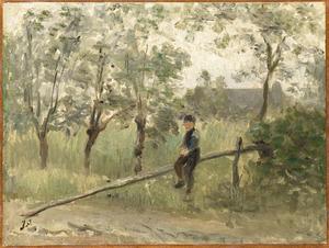 Boerenjongen op een slagboom