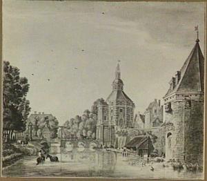 Gezicht over de Stadsbuitengracht te Utrecht op de Wittevrouwenpoort, de Wittevrouwenbrug en waltoren De Hond