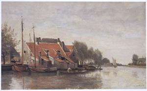 Huizen langs een kanaal bij Dordrecht (1)