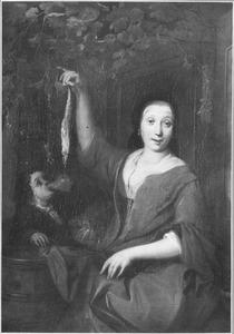 Een vrouw met een haring en een drinkende jongen in een venster