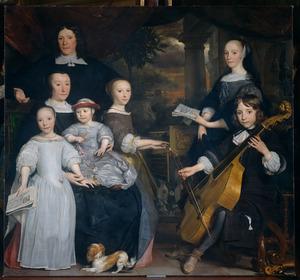 Familieportret van David Leeuw (....-1703), Cornelia Hooft (1631-1708) en hun kinderen