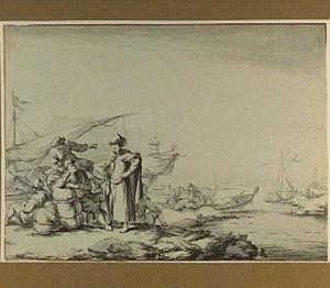 Oosterse man en andere figuren op een Zuid-Europese kade
