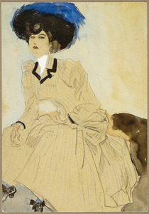 Zittende vrouw met blauwe gevederde hoed