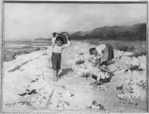 Een vrouw en twee jongens schelpenzoekend op het strand