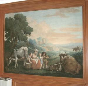 Een vrouw, kinderen en vee in een arcadisch landschap