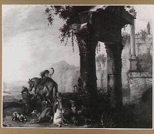 Landschap met jagers en honden bij een ruïne