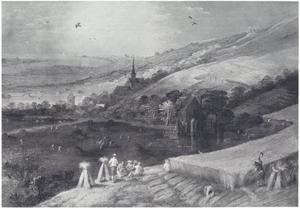 Landschap met korenoogst
