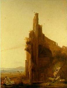 Zuidelijk landschap met een deel van de ruïnes van het Colosseum
