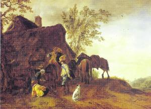 Halthoudende jagers bij een herberg