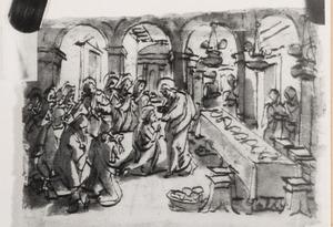 Christus deelt de communie uit aan de apostelen