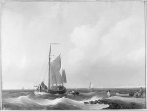 Zeegezicht met schepen voor een kust