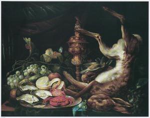 Stilleven met oesters, krab, vruchten, vaatwerk en dode haas