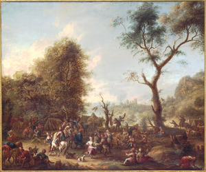 Feestende boeren op een markt
