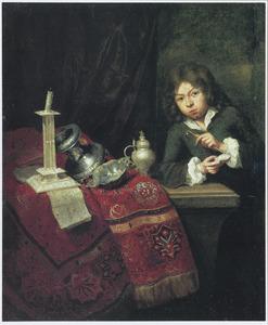 Vanitas: een bellen blazende jongen bij een tafel met zilverwerk