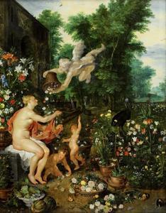 Flora en Zephyrus in een bloementuin, ofwel de elementen Aarde en Lucht