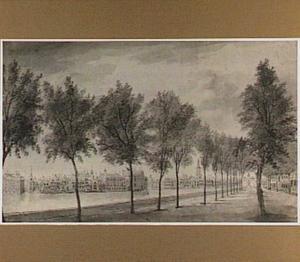 De Vijverberg  in Den Haag, op de achtergrond twee erepoorten opgericht ter ere van de bliijde intocht van Stadhouder-Koning Willem III op 5 februari 1691