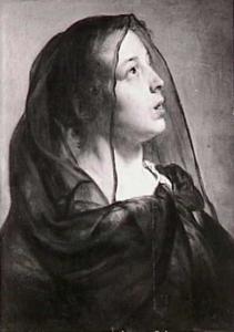 Studie van een vrouw met zwarte sluier