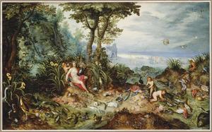 Weids landschap met een allegorische vrouwenfiguur als personificatie van het Water