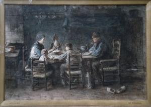 Boerengezin aan de maaltijd