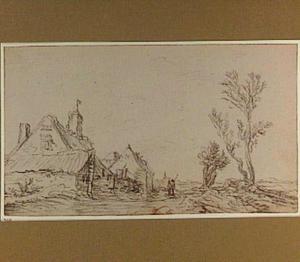 Landschap met boerderijen en twee figuren