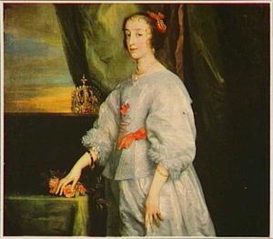 Portret van koningin Henriëtte Maria, staande naast een tafel waarop een bloemenkrans