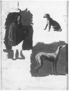 Staande man en twee honden