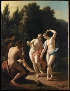 Dansende nymphen op het fluitspel van een herder