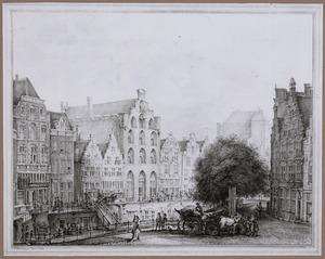 De westzijde van de Oudegracht vanaf de Bakkersbrug gezien, in Utrecht