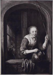 Jonge vrouw met een metalen kan in een venster
