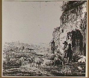 Landschap met herders en vee bij een ruïne