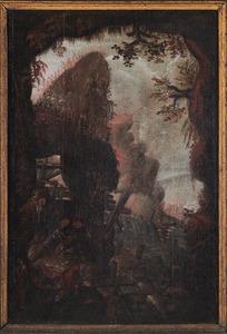 Berglandschap met jagers bij een gebroken brug