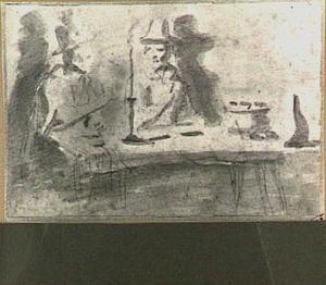Twee mannen aan een tafel bij kaarslicht