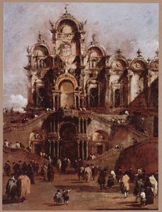 De tijdelijke loggia op het Campo San Zanipolo te Venetië voor de façade van de Scuola di San Marco vanwaar paus Pius VI de zegen gaf, mei 1782
