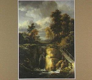 Landschap met brug bij een waterval